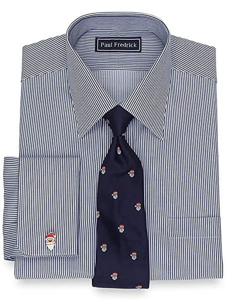 1920s Style Mens Shirts | Peaky Blinders Shirts and Collars  Twill Stripe French Cuff Dress Shirt Paul Fredrick Mens Cotton $74.50 AT vintagedancer.com