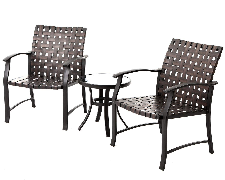 Oakmont Outdoor Indoor Furniture 3-Piece Patio Modular Bistro Set Dark Brown Wicker 2 Chairs Glass-top Coffee Table
