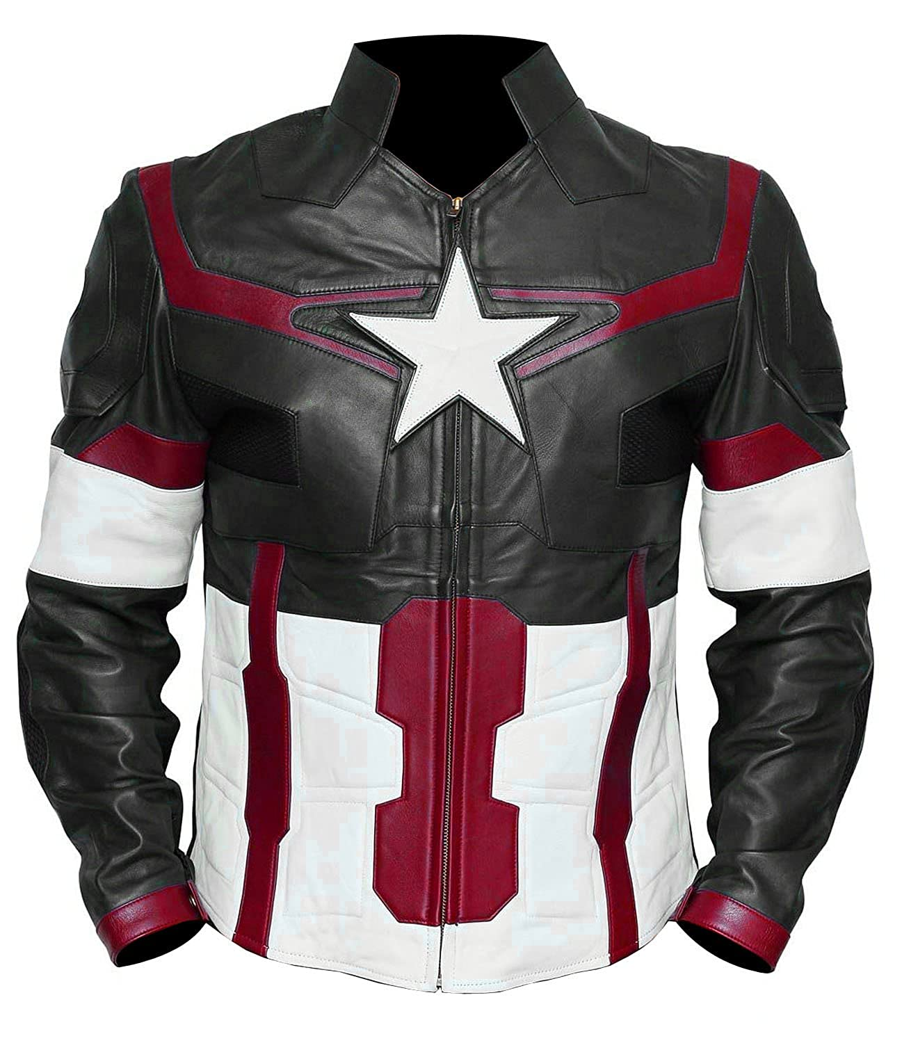 Men's Avengers: Age of Ultron Captain America Black Faux Leather Jacket - DeluxeAdultCostumes.com