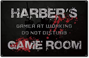 aianhe Game Room Decor Sign,Gamer at Working Do Not Disturb Personalized Video Game Room Decor Metal Sign