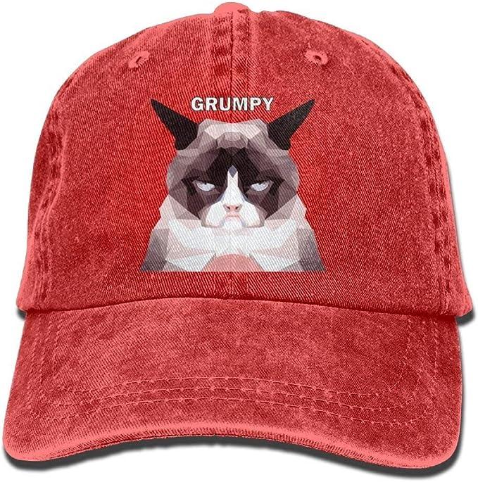 Yaoca Grumpy Cat Denim Hat Gorras de béisbol Planas Ajustables ...
