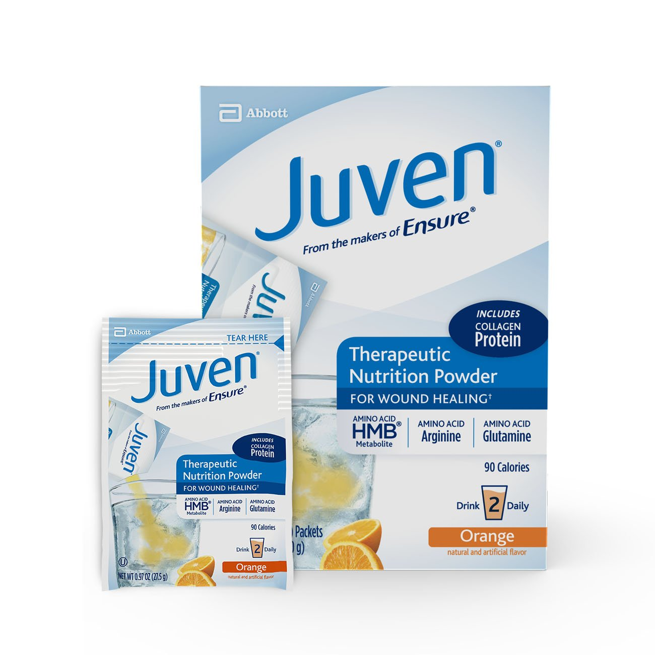 Juven Therapeutic Nutrition Drink Mix Powder for Wound Healing, Includes Collagen Protein, Orange, 48 count