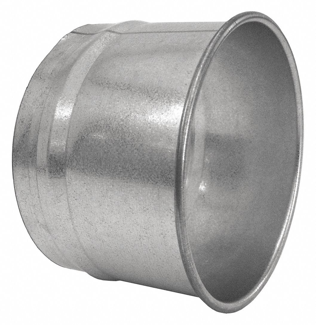 Galvanized Steel Hose Adapter, 7'' Duct Fitting Diameter, 4'' Duct Fitting Length