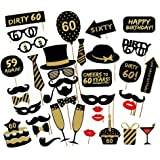 Losuya 60th Birthday Party Photo Booth Props 36pcs DIY Set Funny Photobooth Prop For Unisex