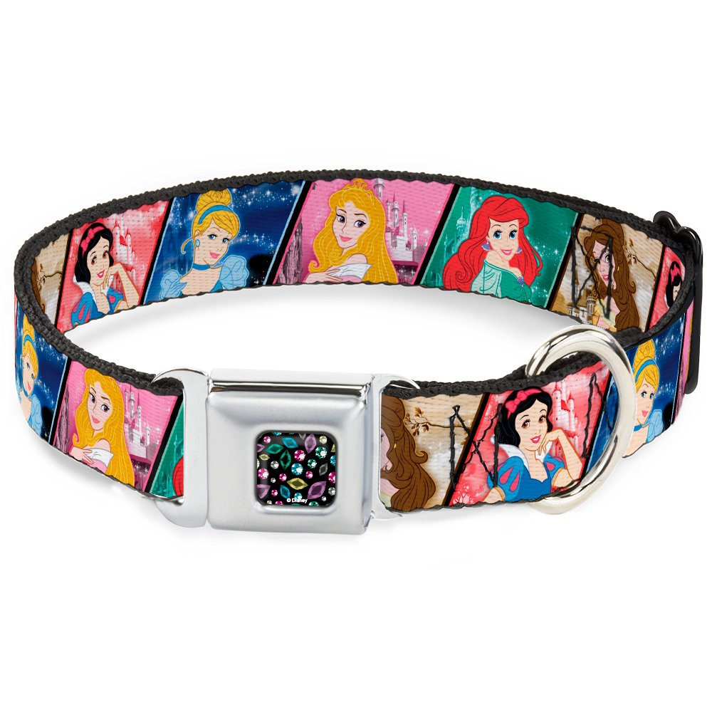 Buckle-Down DC-WDY270-WS DYDI Princess Jewels Full Black Multi color Dog Collar, WIDE-Small 13-18