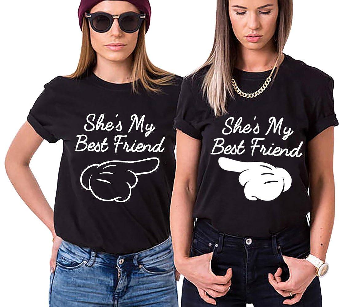 Best Friend Shirt Cotone Stampa Coppia T-Shirt Manica Corta She' s My Finger Maglietta Migliori Amici Girocollo Estate Tumblr per Donna Donne IT-YJ-BF6063