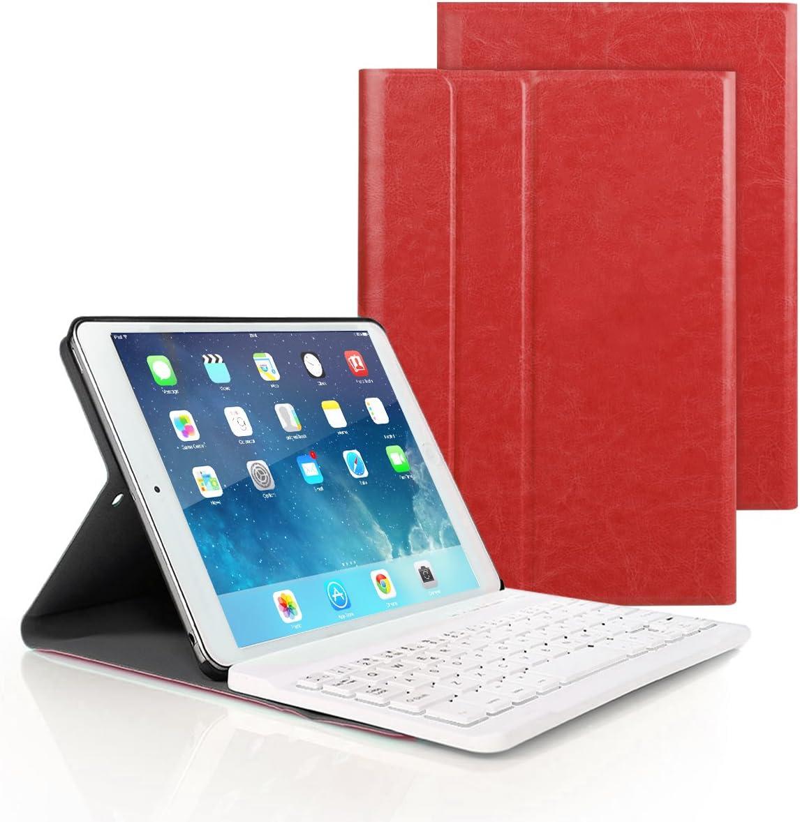 iPad 9.7 2017/2018, iPad Pro 9.7 n iPad Air 1/2 Funda de Teclado, iPad Funda Protectora con Teclado Inalambrico QWERTY Español para Nuevo Apple iPad 9.7 2017/2018, iPad Pro 9.7 n iPad Air 1/2 (Rojo)