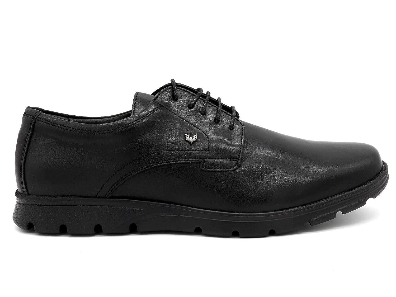 BECOOL - Made In Spain - Schnür-Halbschuhe Ultra-leichte Herren Echtleder Schnür-Halbschuhe - Office Büro Schuhe flexibel Ultra-Flex Komfort, 6610 schwarz 2be584