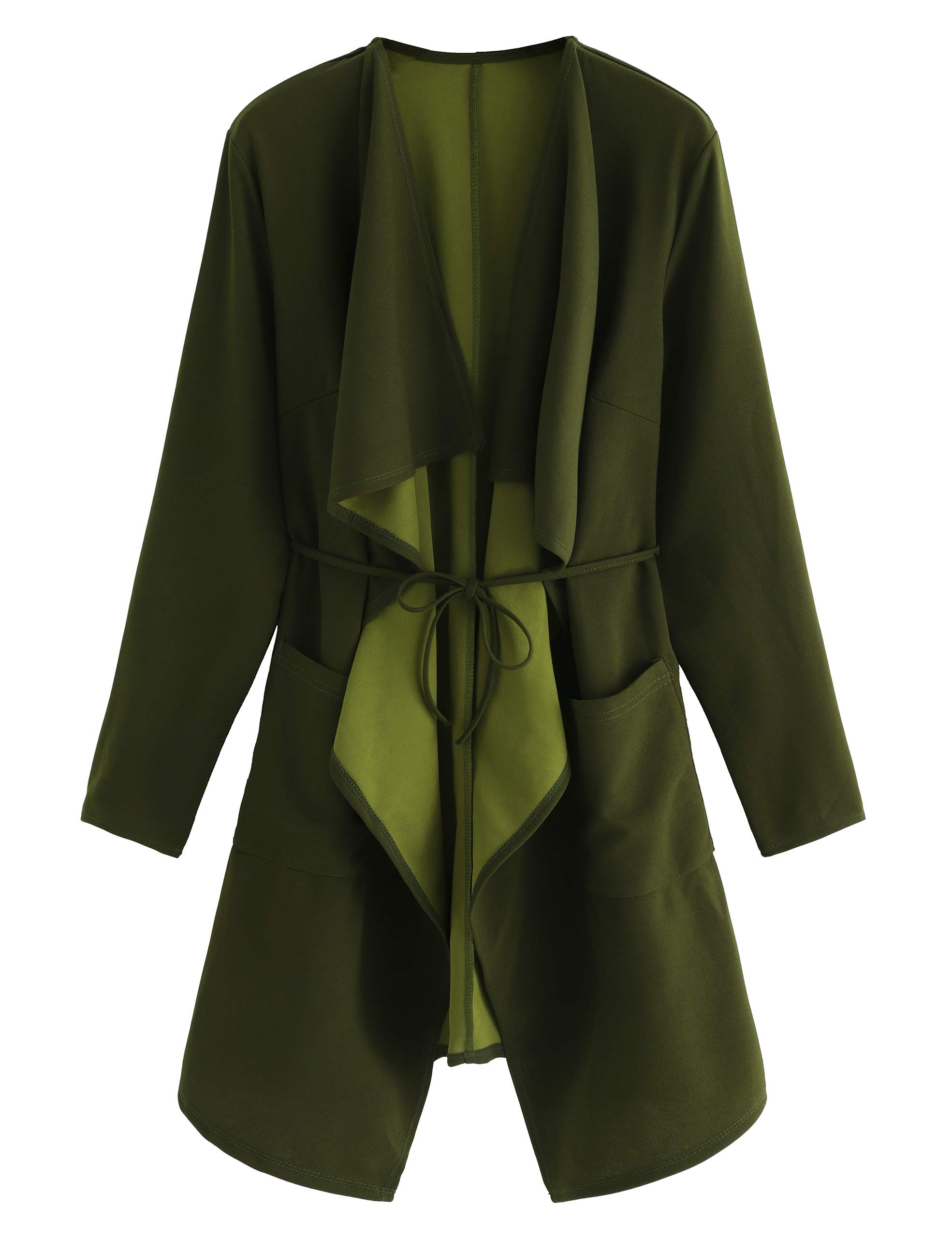 Romwe Women's Waterfall Collar Long Sleeve Wrap Trench Coat Cardigan Green S