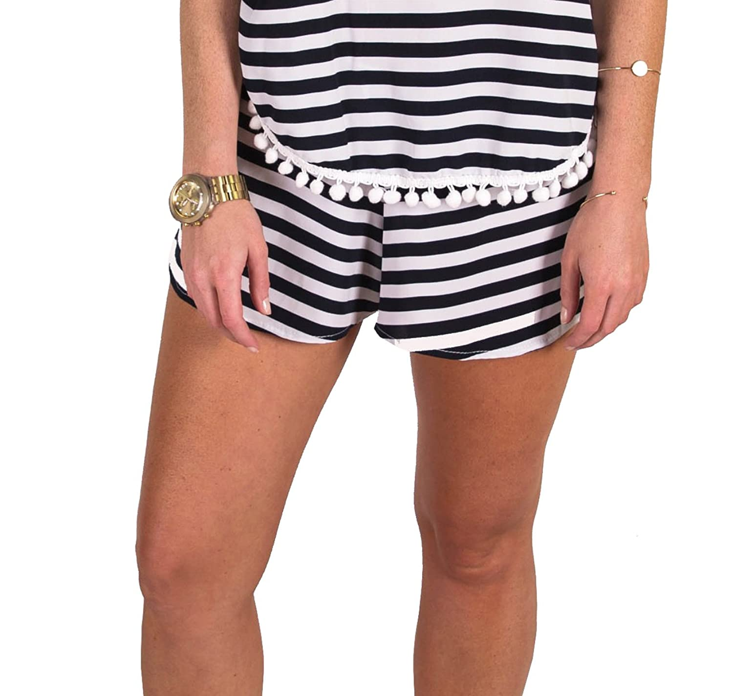 Peach Love Striped Shorts