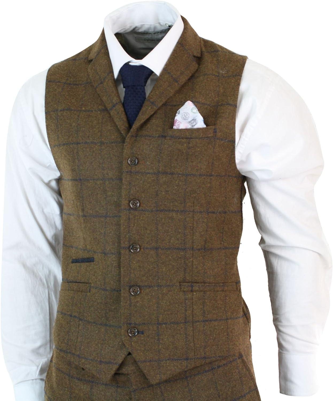 MoranX Casual Herren Anz/üge 3 Teilig Slim Fit Wolle Kariert Fischgr/ätenmuster Tweed Smoking Business Jacke Blazer Weste Hose Hochzeitsanzug