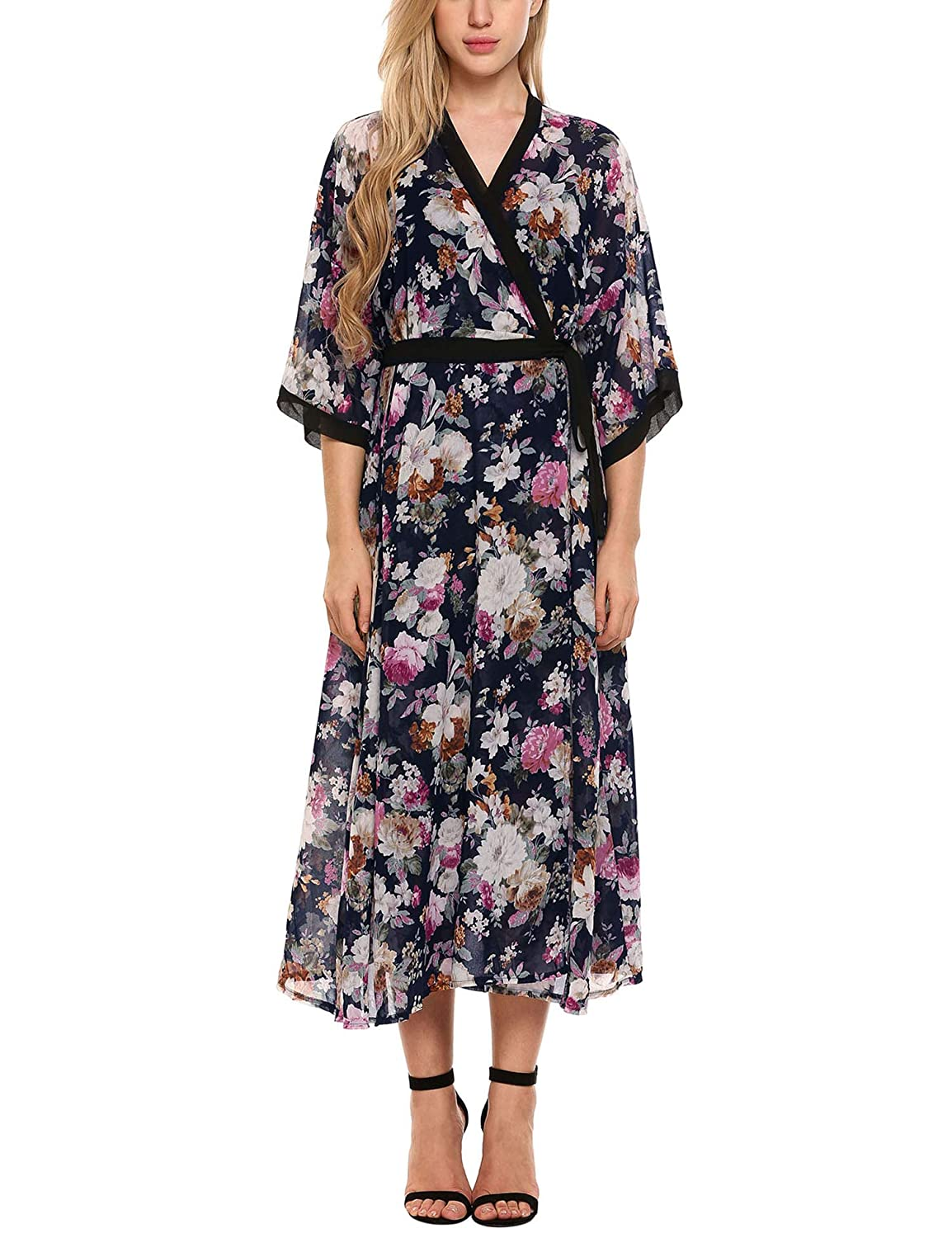 32fe7d21aa4 Zeagoo Women s Floral Flowy Kimono Open Front Beach Cover Ups at Amazon  Women s Clothing store