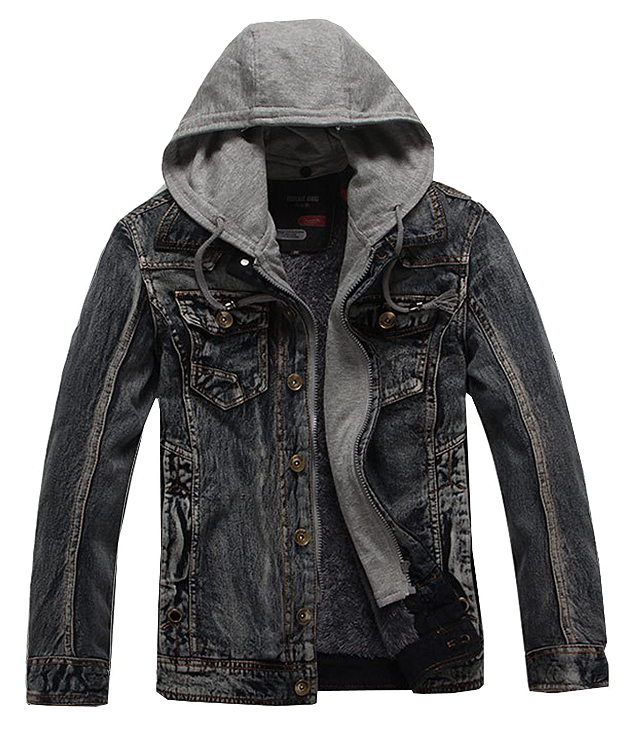 SWORLD Men's Winter Slim Fit Quilted Fur Lined knit Hoodie Padding denim jackets Chest Pocket