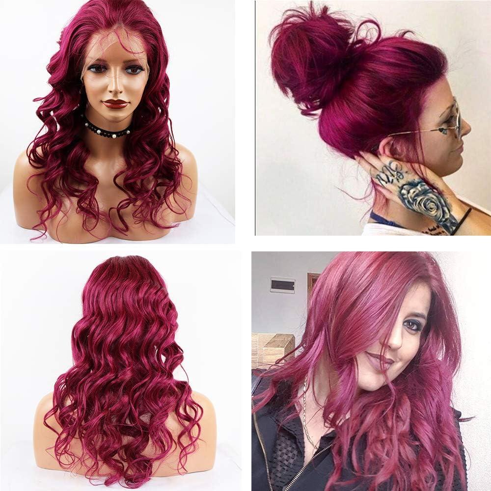 JPDP Pelucas de cabello frontal de encaje de color rojo ...