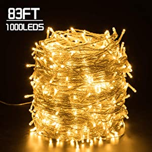 Quntis 83FT 1000LEDs Christmas Decoration Lights - Waterproof Outdoor & Indoor LED String Lights 8 Modes Holiday Fairy Lights UL588 Approved for Home Bedroom Garden Wedding Party Tree, Warm White