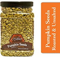 Jaybee's Nuts Pumpkin Seeds Pepitas - Roasted Unsalted (2 LBS) Fresh, Vegetarian, Vegan Friendly, Gluten Free, Keto Snack & Kosher Certified -Great Healthy Everyday Snack - Reusable Container