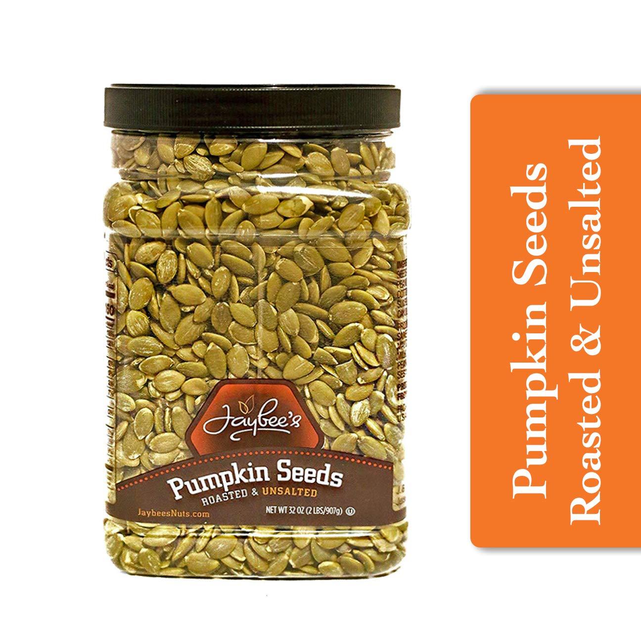 Jaybee's Nuts Pumpkin Seeds Pepitas - Roasted Unsalted (2 LBS) Fresh, Vegetarian, Vegan Friendly, Gluten Free, Keto Snack & Kosher Certified -Great Healthy Everyday Snack - Reusable Container