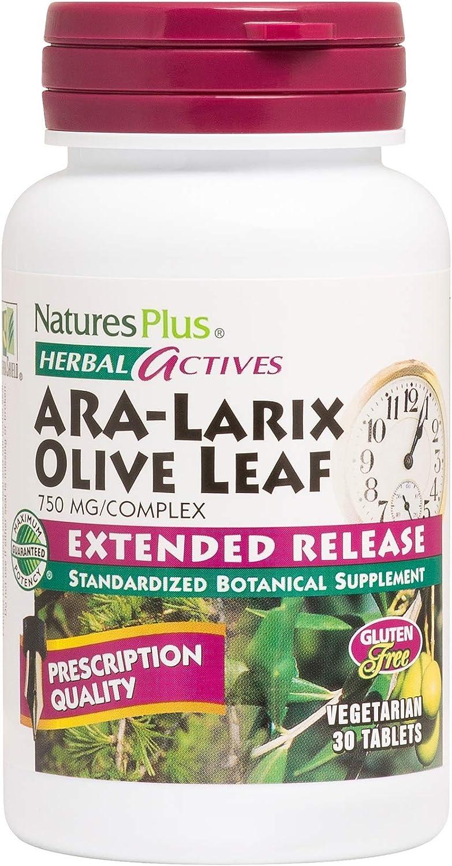 NaturesPlus Herbal Actives ARA Larix Olive Leaf - 750 mg, 30 Vegan Tablets - Immune Support Supplement, Extended Release - Hypoallergenic, Vegetarian, Gluten-Free - 30 Servings