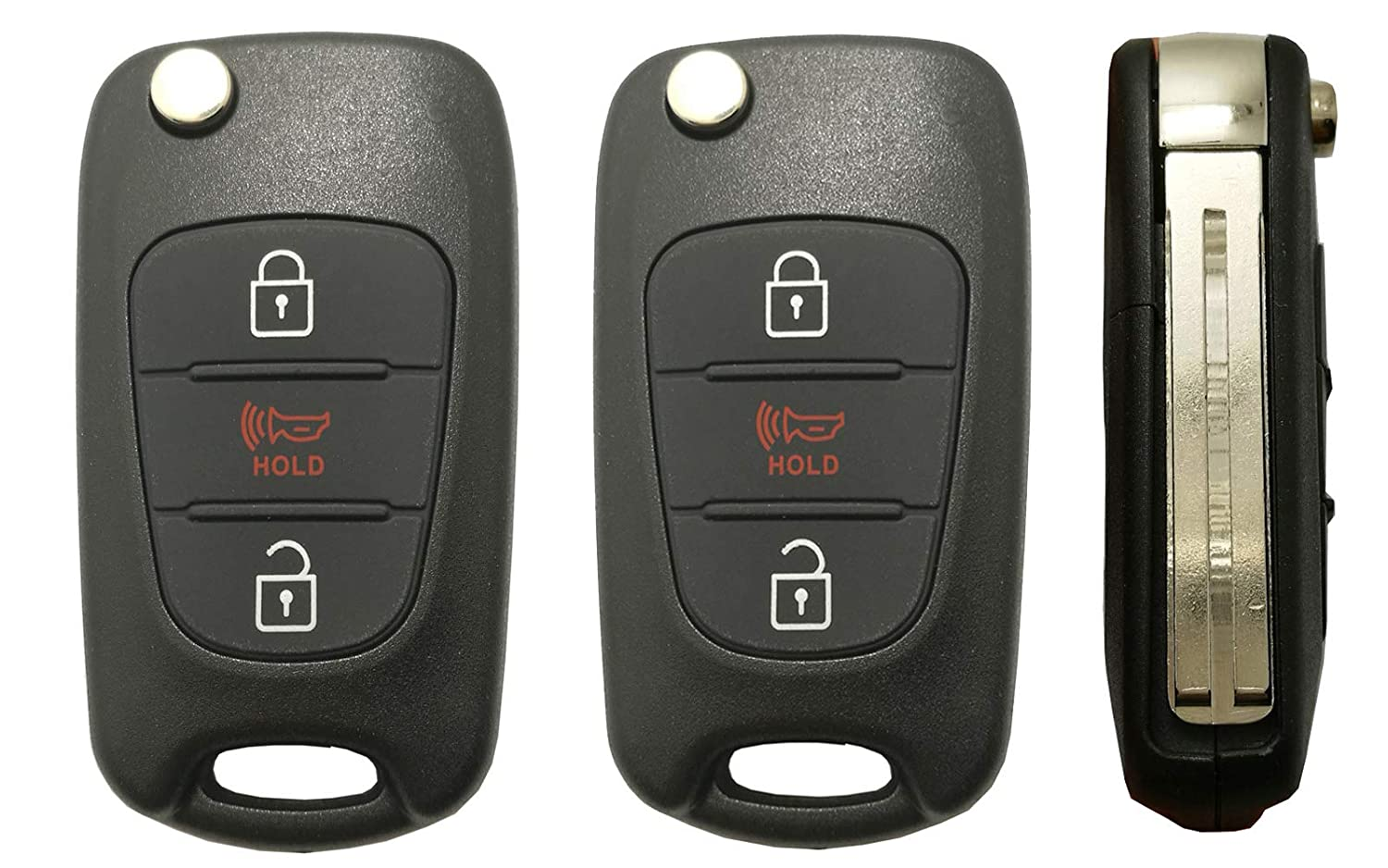 Uncut Folding Replacement Keyless Entry Remote Control Key Fob Case Fit for Kia Soul Key Shell Blank HORANDE 2PCS