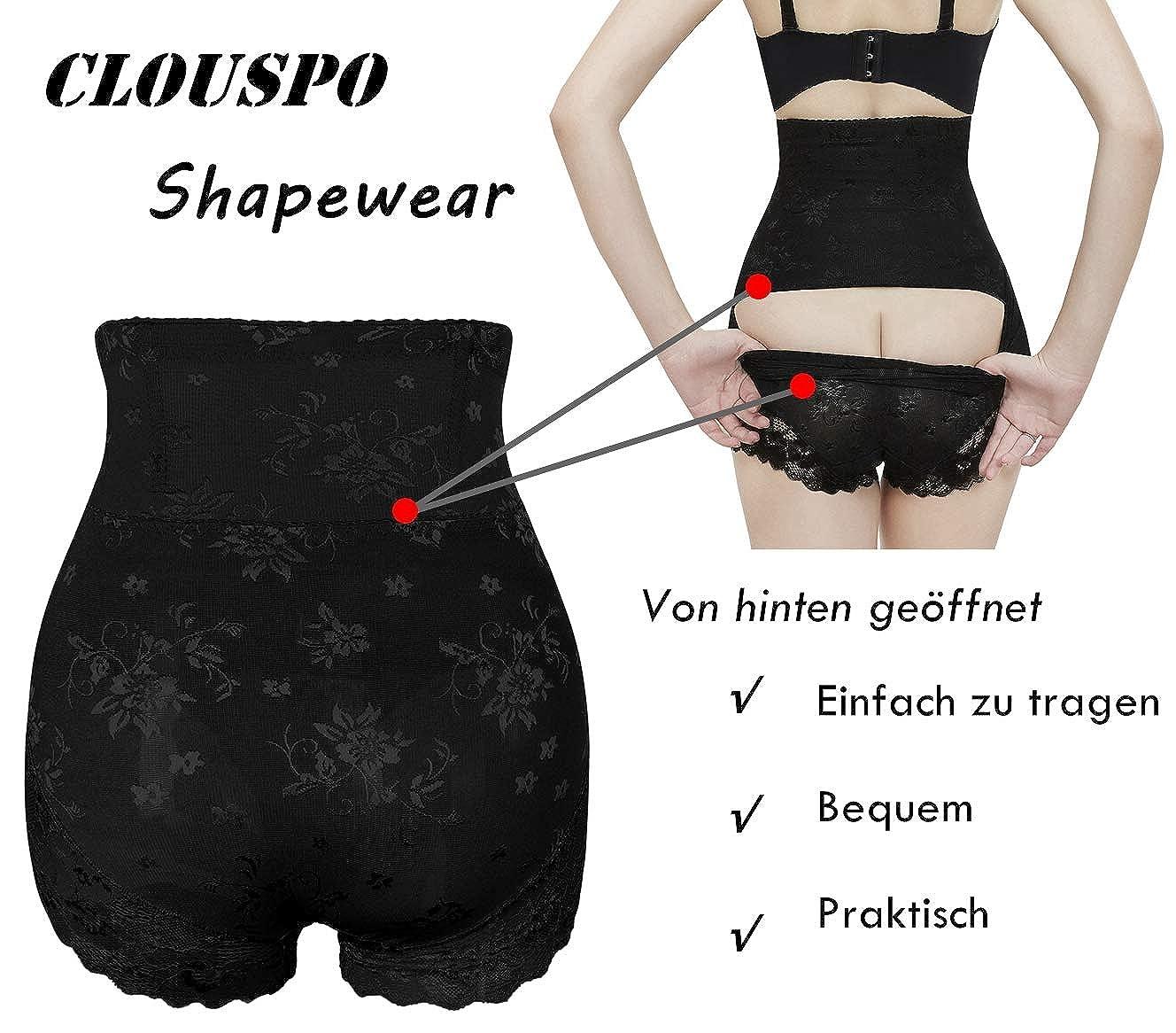 CLOUSPO Damen Shapewear Figurformender Bauch Weg Miederhosen Offene Unterw/äsche Miederslips