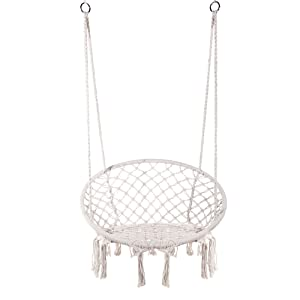 E EVERKING Hammock Chair Macrame Swing, Hanging Cotton Rope Macrame Hammock Swing Chair for Indoor, Outdoor Home, Patio, Porch, Deck, Yard, Garden, Max Weight: 260 Pounds (White)