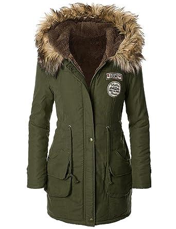 ASCHOEN Damen Mit Pelz Kapuze Dick gepolsterte Lange Oberbekleidung Modern  Bequem Wintermantel Armeegrün XL 2d6284d46d