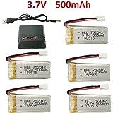 Fytoo 5pcs 3.7V 500mAh 25C Batería y 5-1 Cargador para JJRC H31 H37 H6D Hubsan X4 FPV H107C H107D H107L H107P H108 JXD392 JXD388 JXD385 UDI U816A SYMA X5C X5SW HS170 HS170C HS170G F180W F180C RC Drone