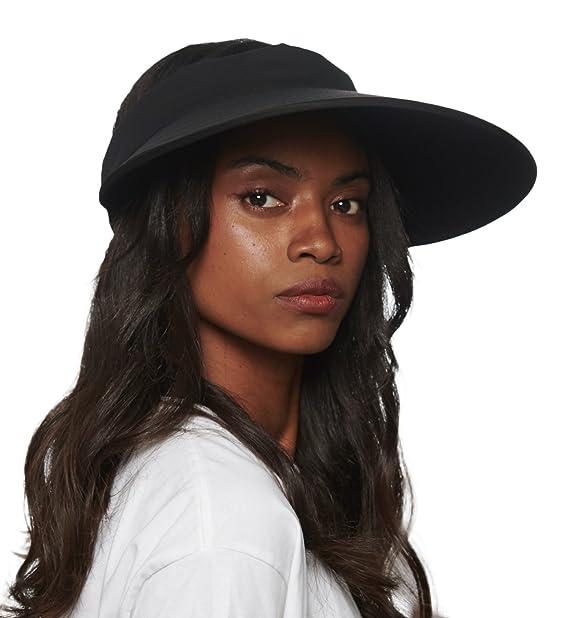 CACUSS Women s Summer Sun Hat Large Brim Visor Adjustable Velcro Packable  UPF 50+ (One 94fab7e9614