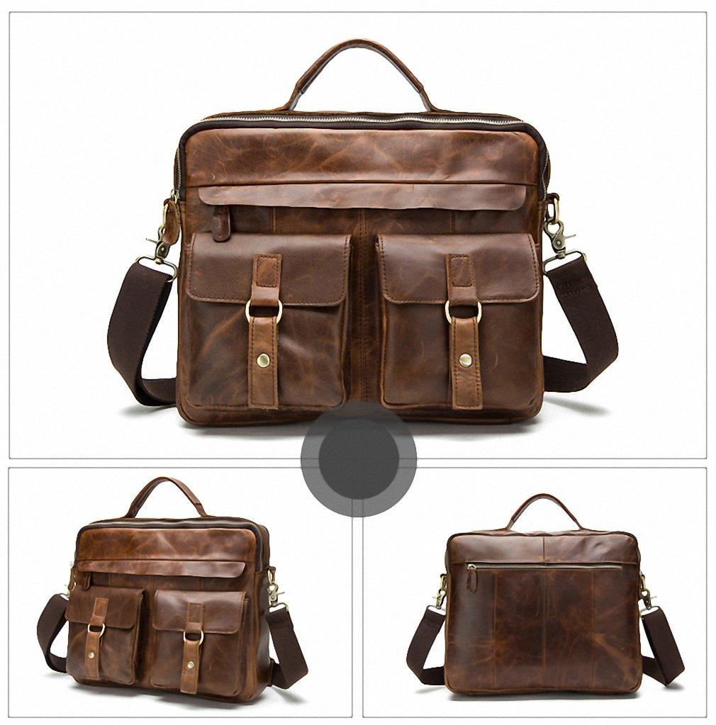 f7955c54b4 Amazon.com  Men Bag Crossbody Bags Casual Totes Leather Handbags Messenger  Laptop Bag Leather Shoulder Bags Men Briefcases 8001L red brown  Sports    ...