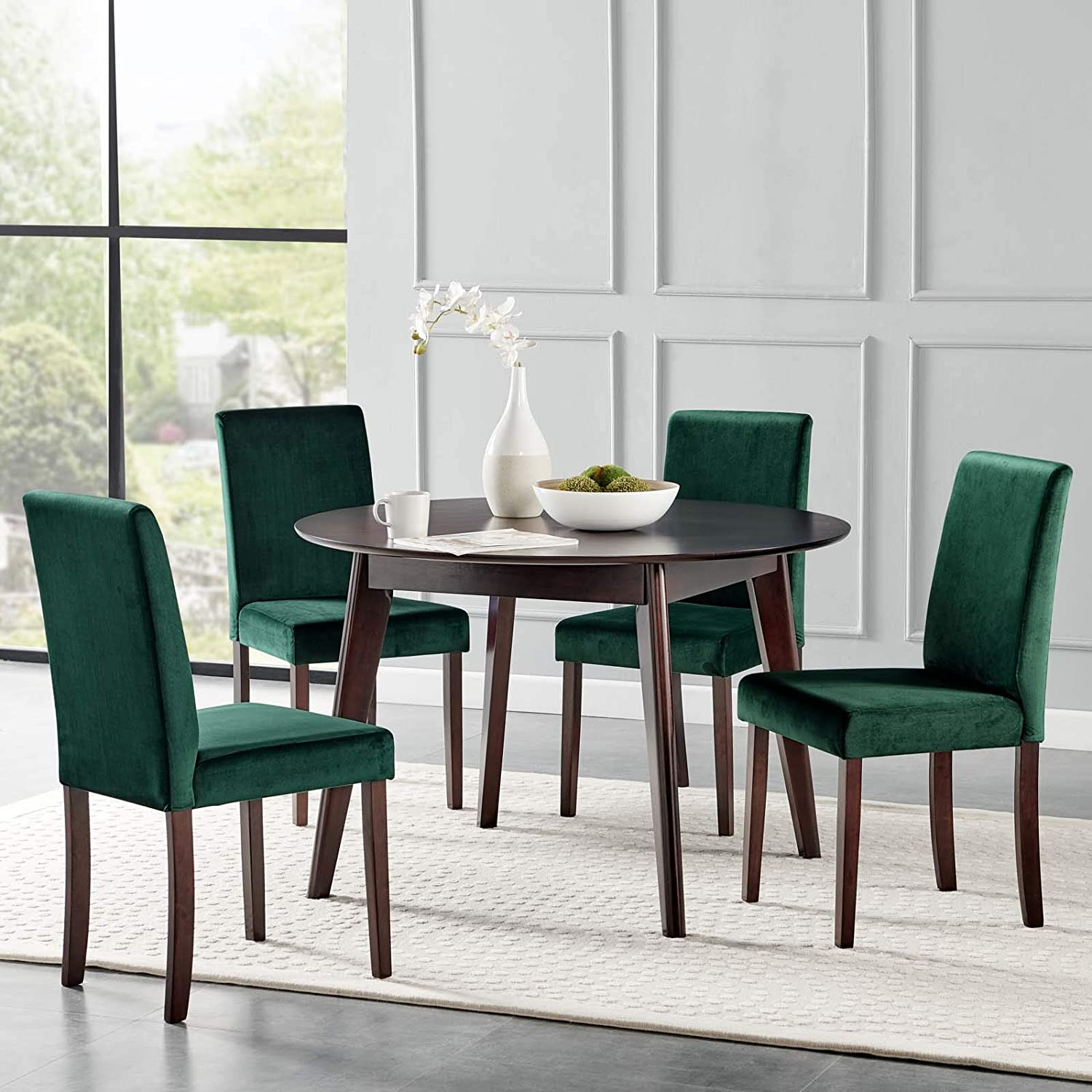 Amazon Com Modway Prosper 5 Piece Upholstered Velvet Dining Set Cappuccino Green Table Chair Sets