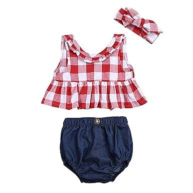 f2a6293f4350c TiaoBug Bébé Fille Vêtement Baptême Ensemble Haut à Carreaux T-Shirt  Chemise sans Manches