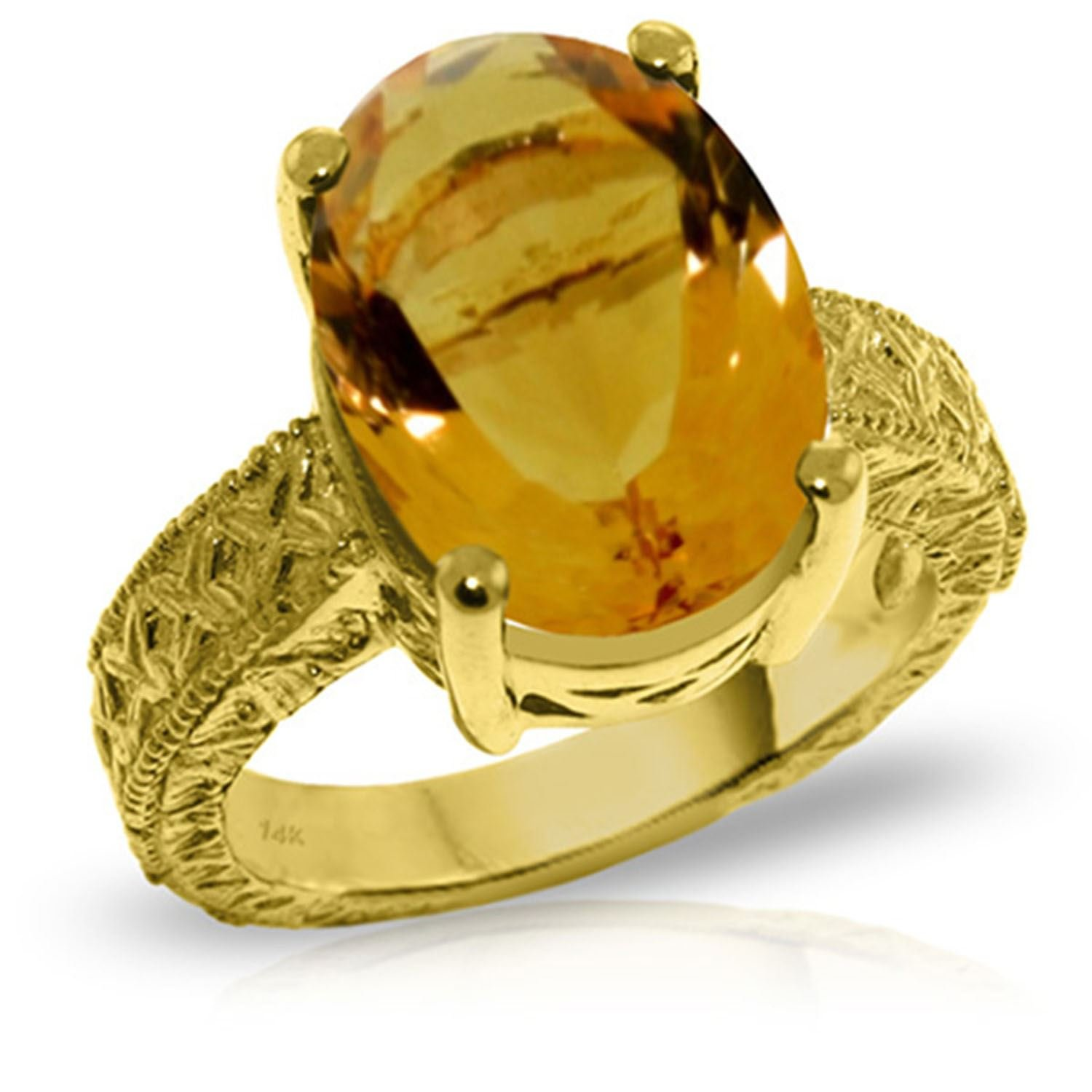 ALARRI 14K Solid Gold Ring w/ Natural Oval Citrine With Ring Size 5