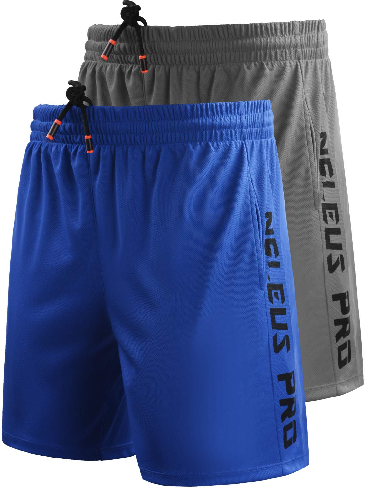 Neleus Men's 7'' Workout Running Shorts with Pockets,6056,2 Pack,Blue,Grey,US L,EU XL by Neleus