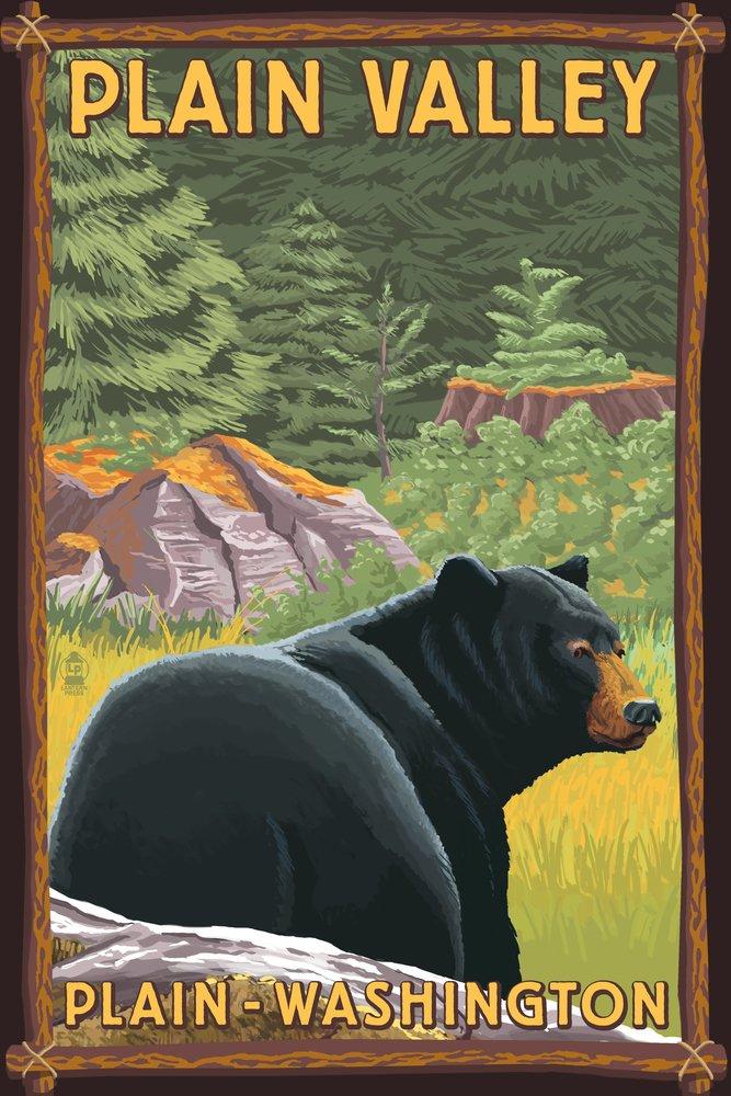 プレーン、ワシントン – ブラックBear in Forest 36 x 54 Giclee Print LANT-50296-36x54 36 x 54 Giclee Print  B017E9WHL4