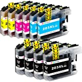 GPC Image Compatible Ink Cartridge Brother LC203XL LC203 XL LC 203XL Replace for Brother MFC-J480DW MFC-J485DW MFC-J680DW MFC-J880DW MFC-J4620DW MFCJ5720DW 10 Pack (4 Black,2 Cyan,2 Magenta,2 Yellow)