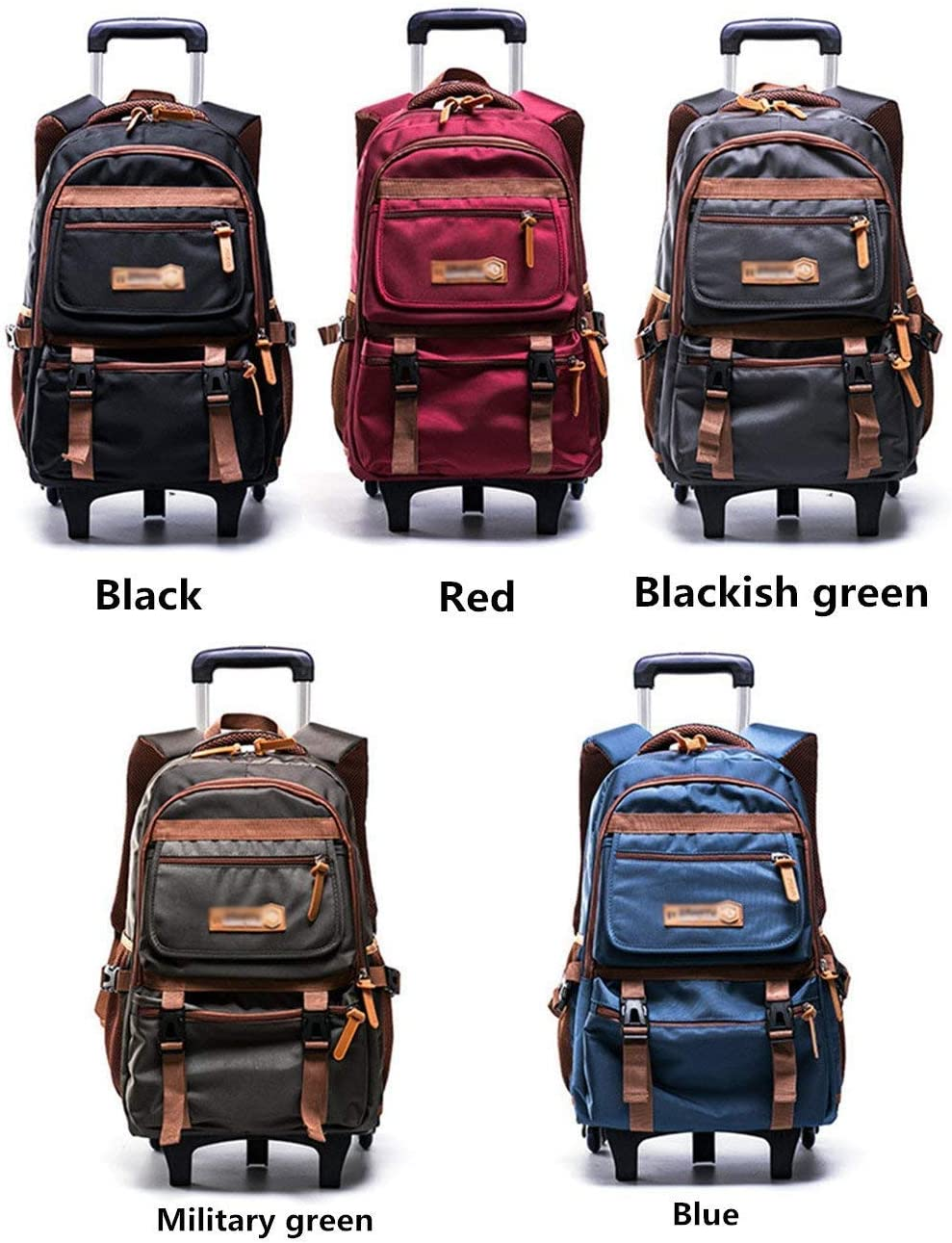 Color : D, Size : Two Rounds XJRHB Nylon Rolling Bag Carry-on Baggage Travel Luggage Bag Wheeled Bag Removable Dual-use Wheeled Childrens Backpack