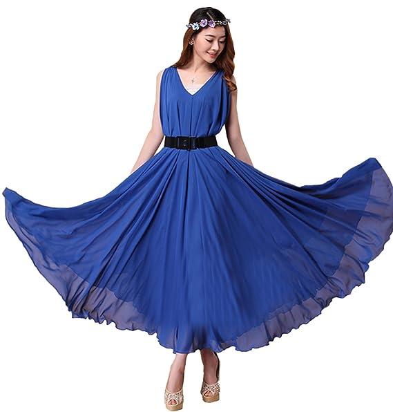 Medeshe Women\'s Royal Blue Double V Neck Chiffon Plus Size ...