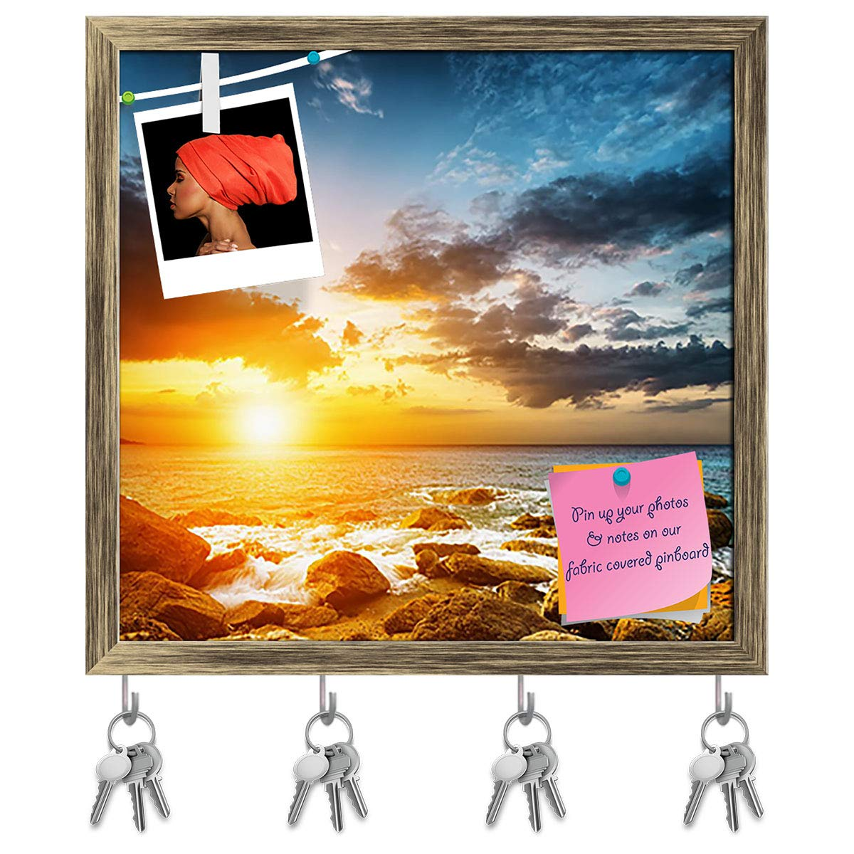 Antique gold Frame 16.6inch x 16inch (42.2cms x 40.6cms) Artzfolio Sunset Landscape Key Holder Hooks   Notice Pin Board   golden Frame 16.6 X 16Inch