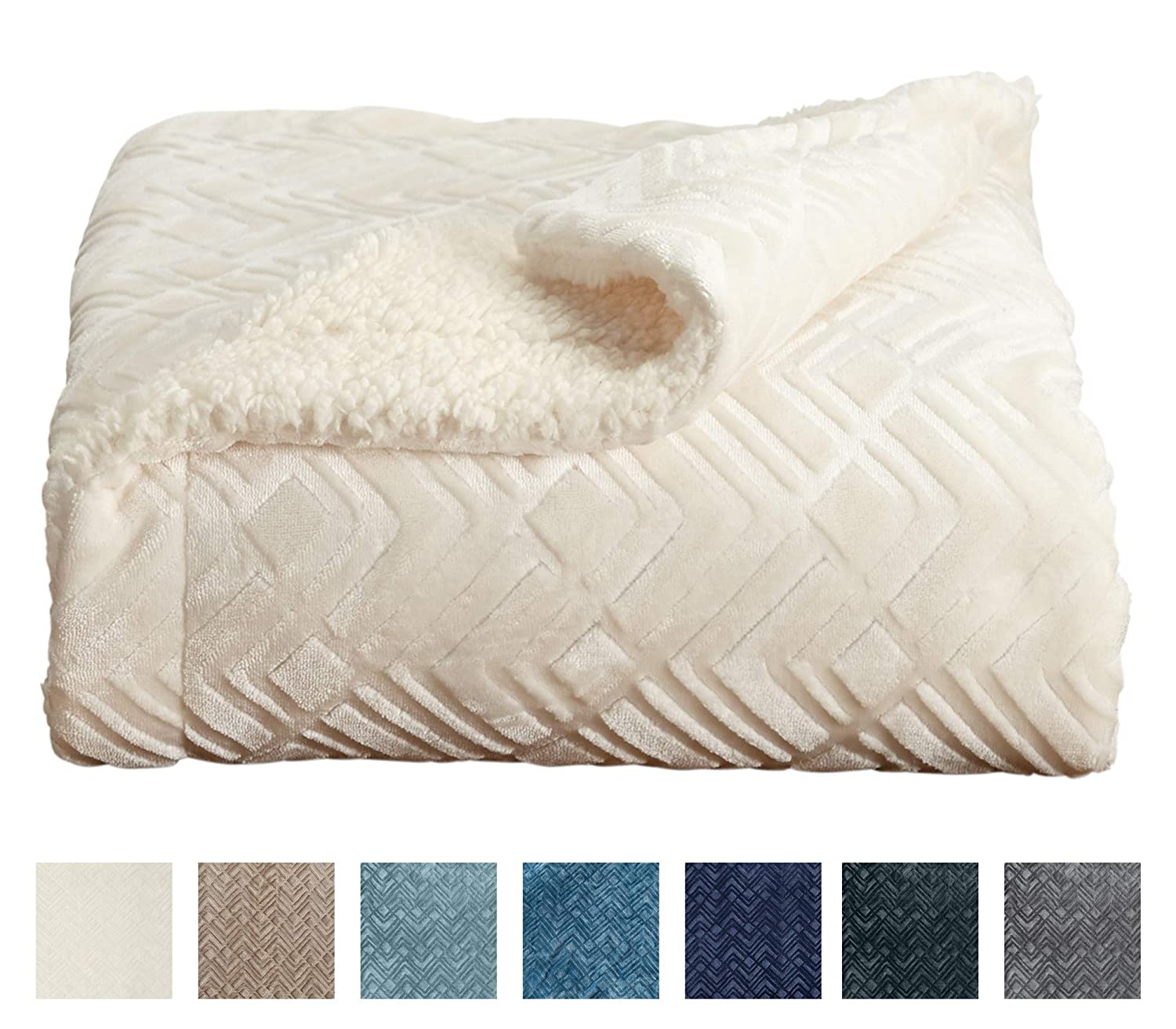 Premium Reversible Two In One Berber And Sculpted Velvet Plush Luxury Blanket Cozy Lightweight All Season Throw Blanket By Home Fashion Designs Brand White By Home Fashion Designs Amazon In Home Kitchen