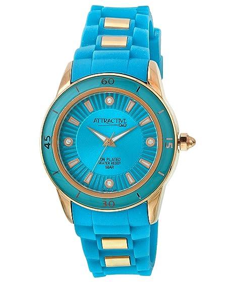 Q&Q Attractive DA43J112Y - Reloj para mujeres, correa de silicona color azul
