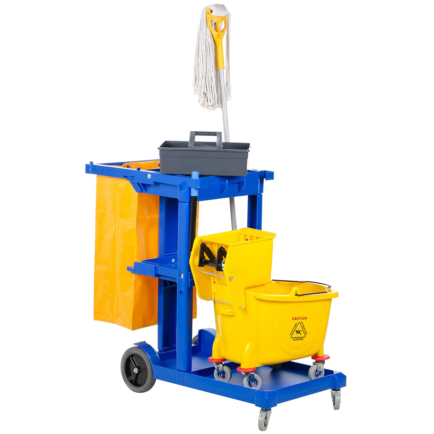 Mop Bucket Wringer Cleaning Trolley Cleaning Mop Holder Hotel Cleaning 24 L