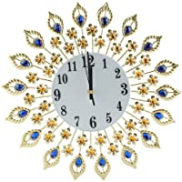 Crystal Metal Wall Clock, Diamond Decorative Wall-Mounted Clock European Modern Style Hanging Wall Clock Silence Bedroom…