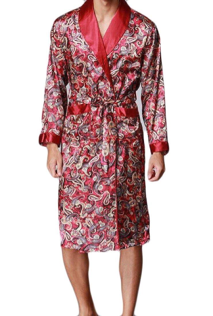 QueenHandsMen QueenHands Mens Mid Baggy Fit Oversized Printed Belted Pajama Lounge Set