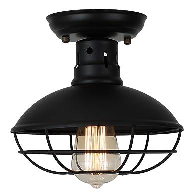 Industrial Ceiling Light Ivalue Mini Semi Flush Mount Ceiling Light Fixture Matel Cage Pendant Lamp for Kitchen Warehouse Porch Bedroom