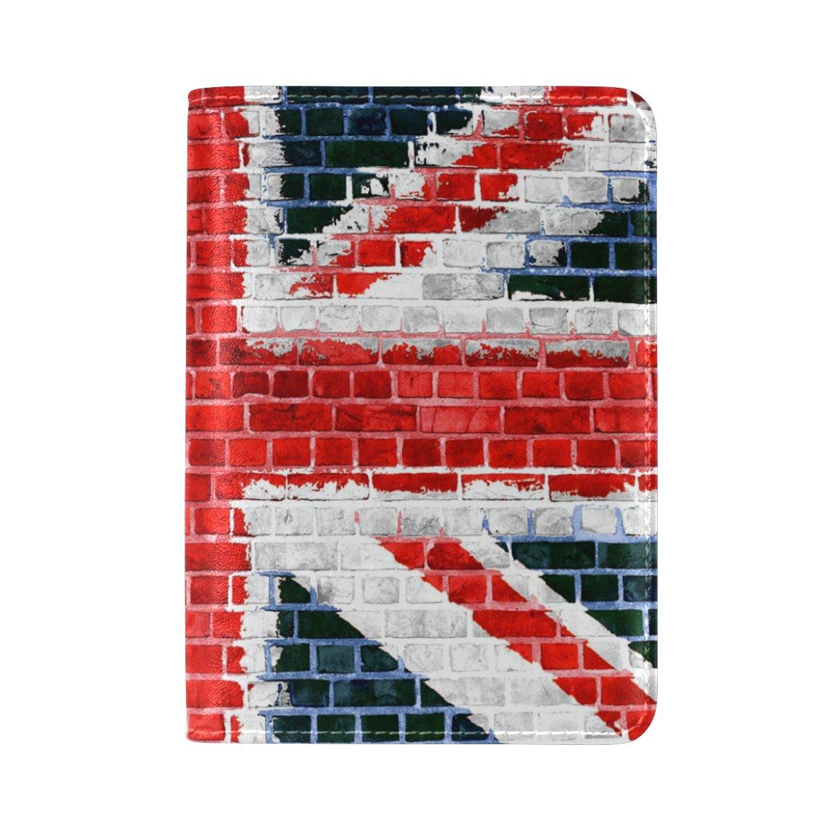 ALAZA Vintage Union Jack Flag Painted Brick Leather Passport Holder Cover Case Travel One Pocket