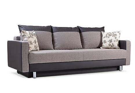 MEUBLO sofá Convertible con Cojines 3 Plazas Tela ...