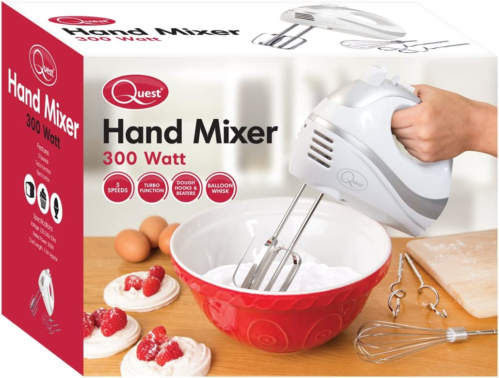 Quest 35820 Multi Use 5-Speed Hand Mixer with Chrome Beaters, Dough Hooks and Balloon Whisk Attachments, 300W, Red, 300 W White