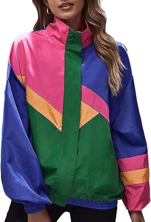 SweatyRocks Womens Zip Up Color Block Lightweight Jacket Patchwork Sport Windbreaker Jacket Coat Outerwear