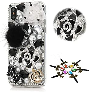 STENES iPhone XR Case - Stylish - 100+ Bling Crystal - 3D Bling Handmade Rose Flowers Bows Crown Design Cover for iPhone XR - Black