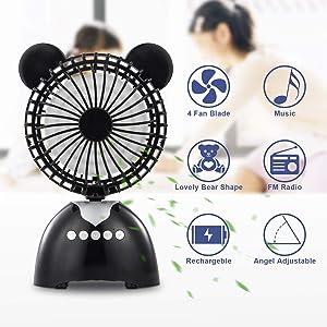 RICANK Bluetooth Speaker Air Fan, Wireless Mini Music Fan Built-in 1200mAh Rechargeable Battery Multi-Usage Scenario Desk Fan Support Bluetooth Connection & TF Card Personal Adjustable Tilt Table Fan